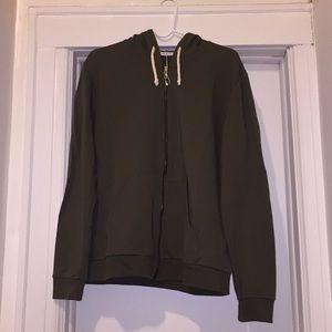Women's Zara Army Green Long Zip Hoodie, Small